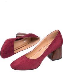vintage casual scarpe in camoscio con tacchi squadrati in colore a tinta unita