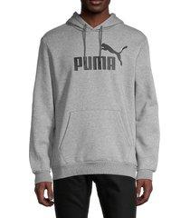puma men's essential logo hoodie - grey - size l