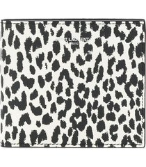 saint laurent leopard print wallet - black