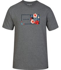 hurley men's half & half floral logo t-shirt