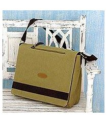 cotton canvas laptop messenger bag, 'indian green' (india)
