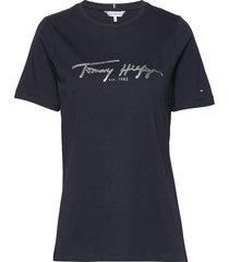 bobo regular c-nk top ss t-shirts & tops short-sleeved blå tommy hilfiger