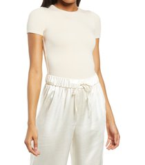 women's re ona crewneck t-shirt thong bodysuit, size medium - ivory