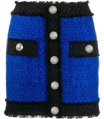 balmain contrast trim tweed mini skirt - blue