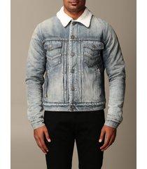 balmain jacket balmain denim jacket with fur collar