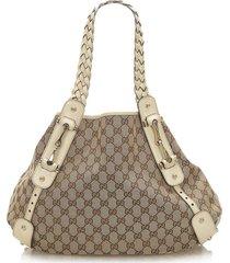 gucci gg canvas pelham shoulder bag brown, beige, white sz: l