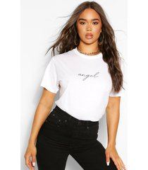 micro 'angel' t-shirt met tekst, wit