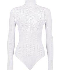 fendi open-knit long-sleeve bodysuit - white