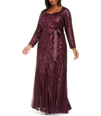 r & m richards plus size godet sequin gown