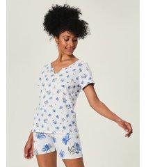 pijama estampado com fita de cetim malwee liberta cinza claro - p