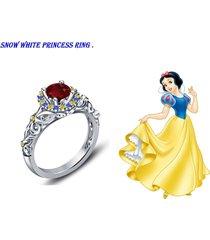 disney princess snow white engagement ring brilliant red garnet 18k white gp