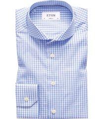 eton overhemd cutaway super slim blauwe ruit