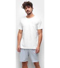 pijama curto cor com amor meia malha listrado masculino - masculino