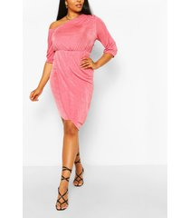 plus midi jurk met strakke hals en textuur, rose