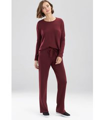 natori cocoon long sleeve top pajamas, women's, red, size l natori