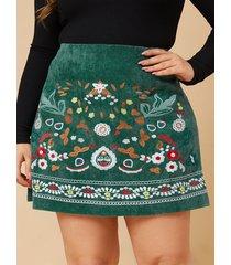 falda de pana bordada con diseño de cremallera verde talla grande