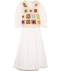 gabriela crochet 3/4 sleeve combo dress in multi
