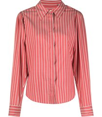 isabel marant vertical-stripe long-sleeve shirt - red