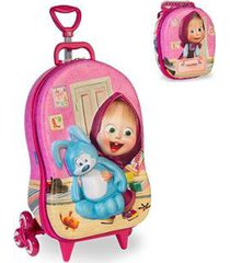 kit mochila masha quarto rosa 3d com rodinhas+ lancheira maxtoy