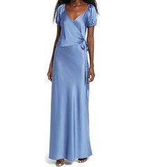 women's wayf the bea faux wrap v-neck dress, size x-large - blue