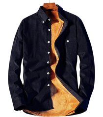 camicia a maniche lunghe monopetto in pile di velluto a coste per uomo in velluto a coste casual camicia