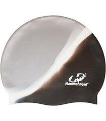 touca de silicone hammerhead lisa multicor / preto-branco-prata