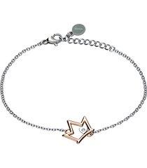 bracciale corona con strass in acciaio bicolore per donna