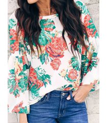 camicetta allentata a maniche lunghe rotonda stampata floreale casual collo