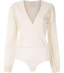 framed baise long-sleeved bodysuit - neutrals
