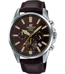 reloj casio efv_510l_5av marrón cuero