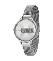 relógio digital lince feminino - sdm4636l prateado