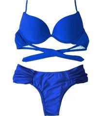 biquíni bojo bolha alça estreita divance calcinha lateral dupla franzida azul bic