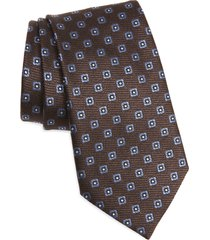 men's ermenegildo zegna silk tie, size one size - brown