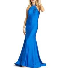mac duggal women's embellished halterneck trumpet gown - royal - size 4