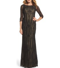 women's la femme crystal lace column gown, size 8 - black