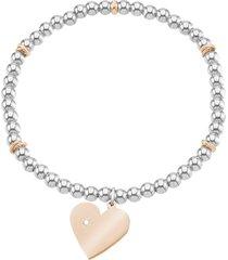 bracciale cuore in acciaio bicolore e cristalli per donna