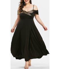 plus size sequins spaghetti strap prom dress