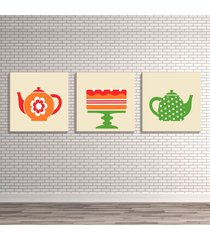 conjunto de 3 telas decorativas estilo ilustraã§ã£o ãcones chaleiras e bolo - montada: 40x126cm (a-l) unico - off-white - dafiti