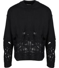 palm angels distressed flames sweater