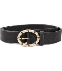 just cavalli oval engraved buckle belt - black