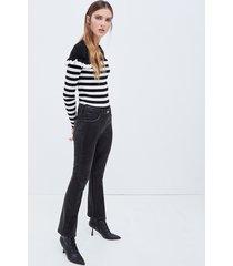 motivi jeans cropped con spalmatura donna nero