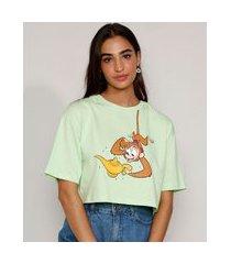 camiseta feminina manga curta cropped ampla abu aladdin decote redondo verde claro