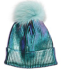 fox fur pom-pom sequin beanie