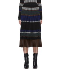 horizontal stripe pleated rib knit midi skirt