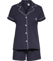 lrl notch collar boxer pj set ssl pyjamas blå lauren ralph lauren homewear
