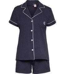 lrl notch collar boxer pj set ssl pyjamas blå lauren ralph lauren homewear