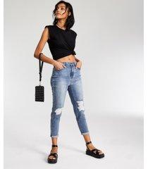 vanilla star juniors' destructed cinched waist mom jeans