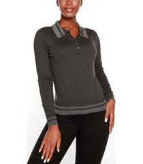 belldini black label petite puff sleeve button front henley sweater