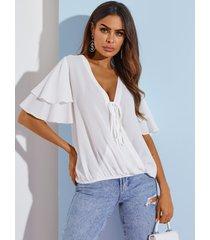 blusa con mangas con volantes y cuello en v profundo cruzado blanco de yoins