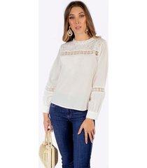 blusa adrissa blanca en mezcla de tela